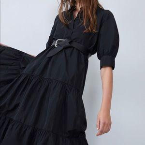 Zara taffeta dress bloggers favorite XS asymmetric